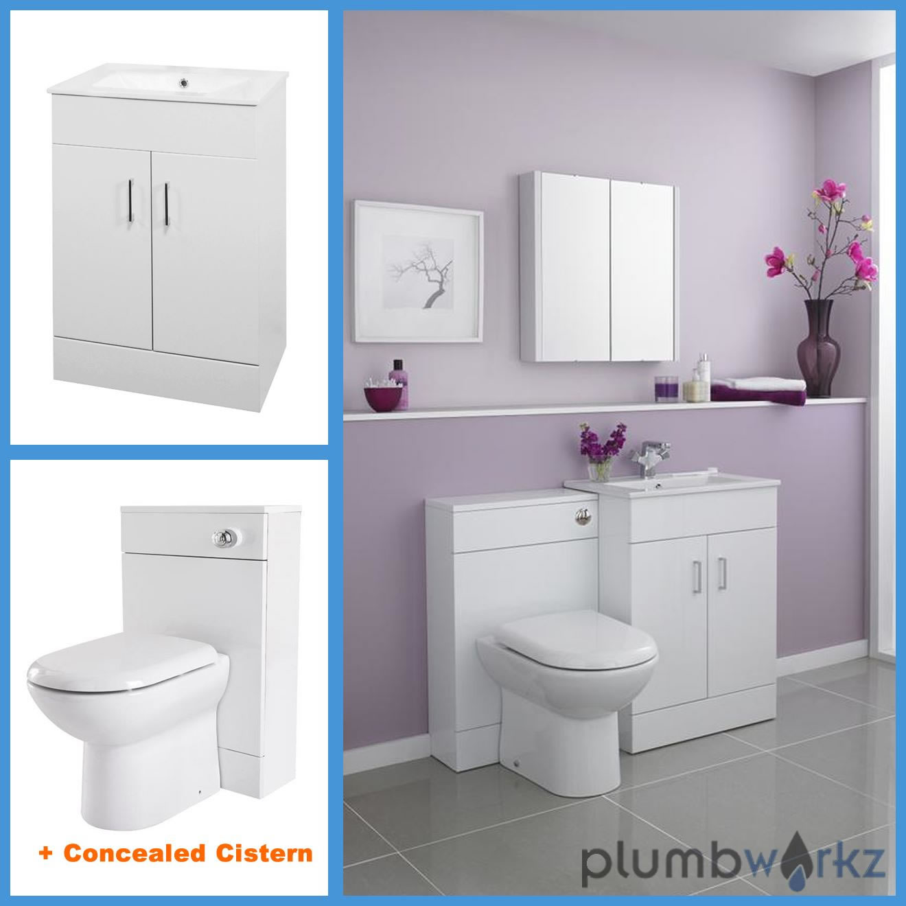 Bathroom Furniture Suite Vanity Unit Cabinet Basin Back To Wall Toilet WC Uni