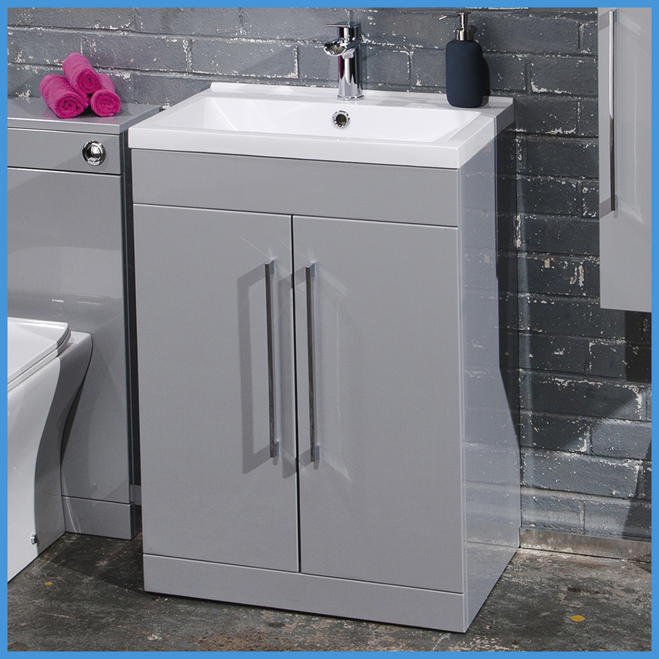 Bathroom Furniture Suite Grey Vanity Unit Cabinet Basin Back To Wall Wc Unit Ebay