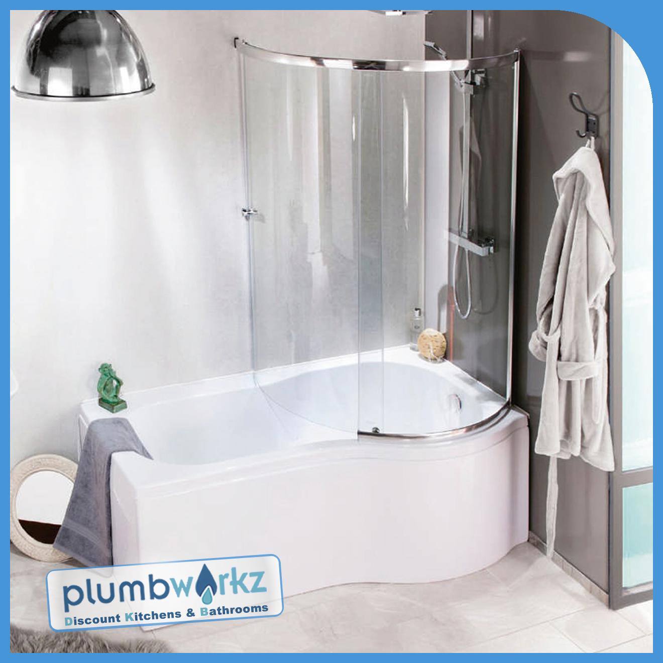 P Shaped Bath 1500mm 1700mm Bath Full Enclosure Screen