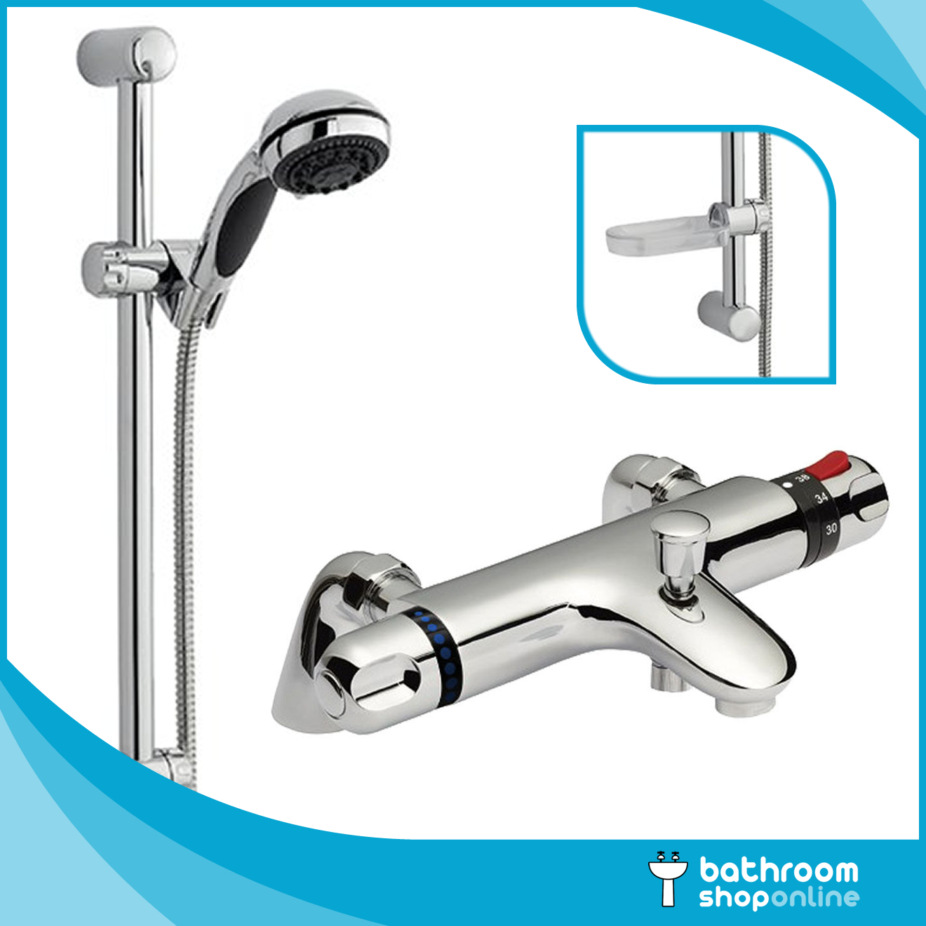 Thermostatic Bath Shower Mixer Tap Deck Or Wall Mounted